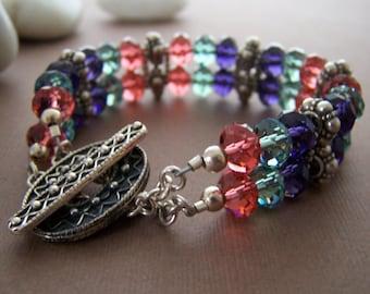 Aurelle Double Strand Bracelet - Swarovski Crystal with Sterling Silver Beaded Bracelet