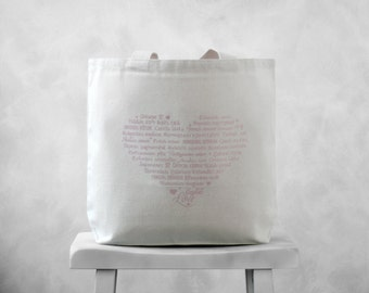 "CLEARANCE ~ LOVE Languages Tote Bag - Pale Pink on Natural Canvas Bag - Carryall Tote - Summer Bag - More info in ""Item Details"""