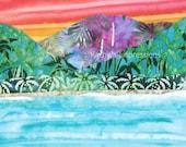 "HANALEI BAY Kauai Hawaii - 9.75"" Batik Fabric Quilt Panel Block - Coral Sky"