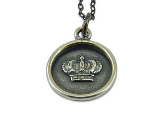 Silver Wax Seal Crown Necklace - Princess Crown Necklace Pendant Royalty Wedding Charm  G by Gwen Delicious Jewelry Designs