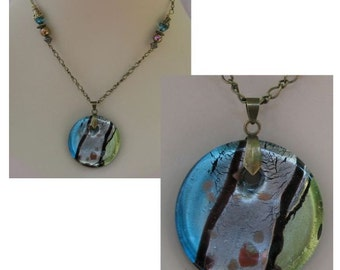 Burnished Gold Art Glass Foil Pendant Necklace Jewelry Handmade Accessories