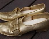 Vintage Gold Mod Metallic Loafers 8M