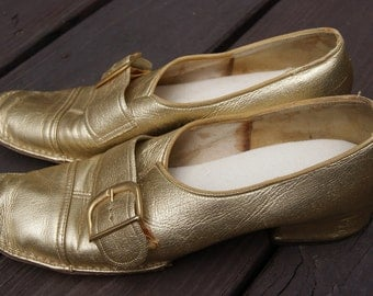 Vintage Gold Mod Metallic Loafers 8M