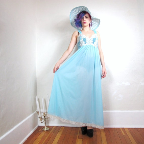 60s Sheer Baby Blue Lace Empire Waist Lingerie Gown (M/L)