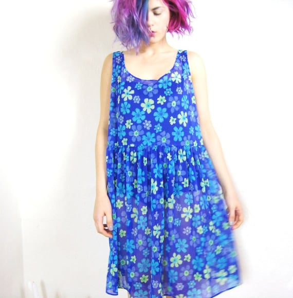 90s Raver Sheer Neon Daisy Print Beach Dress (M/L)