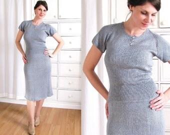 1940s Dress / 40s Knit Dress / Dusty Blue Dress