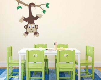 Monkey on a Branch Wall Decal (Ceiling) - Monkey Decal - Children Wall Decals