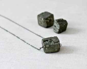 Pyrite Necklace, Fool's Gold Necklace, Natural Jewelry, Organic Nugget on Oxidized Sterling Silver, Gold Rush