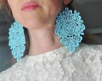 Aqua Lace earrings/ Long earrings/ Victorian/ Floral/ Bohemian/ Lace fashion/ rusteam tt team epl