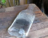 One Upcycled Melted 1.75 Liter Polish Vodka Bottle Cheese Tray 'Slump' With Cork Feet Multipurpose Food Service Home Decor