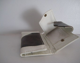 White and Brown 70's Vinyl Check Holder & Wallet/ Smart Phones too