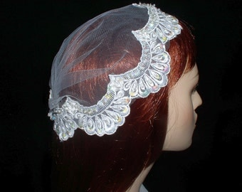 Bridal Headpiece Juliet Cap Lace Beaded with Pearls and Sequins - White- Doubles as Birdcage Veil