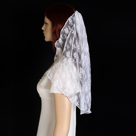 Lace Veil  Cascade Style Trimmed With Ribbon- Shoulder Length
