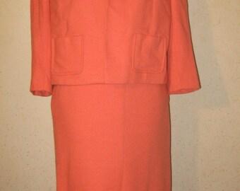 Vtg 60s Tangerine Orange Wool Jersey Round Collar Slouch Jacket Cardigan w Wiggle Skirt 4 pc Suit