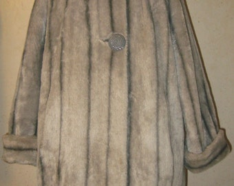 Vtg 60s LUXE Gray Charcoal Striped Shawl Collar FAUX Fox Fur Glam Coat  Cuffed Jacket