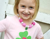 Girls Pink St Patricks Day Shirt with Green Shamrock and Rosette Flower Accent