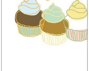 Carococo /greetings blank card 5x7 / cupcakes / by Carol-Anne Pedneault