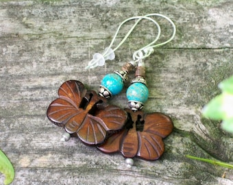 Butterfly Earrings with Turquoise and Sterling Silver