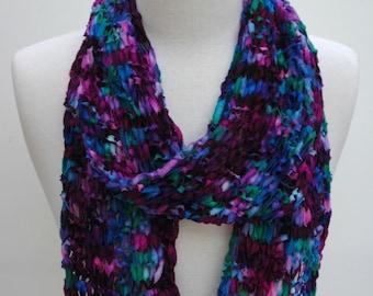 Merino Scarf- Hand Knit-  Sapphire/ Rose/ Fuschia/  Turquoise/ Merlot/ Sapphire