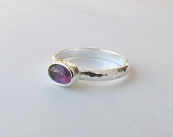 Oval Amethyst and Sterling Silver Ring