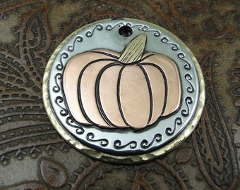Pet ID Tag Pumpkin-Custom Dog Tag-Personalized Pet ID Tag-Handmade Dog Collar ID Tag