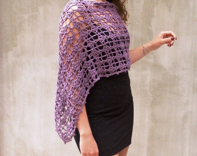 Featured listing image: Poncho, Women poncho, Rustic wedding, Crochet poncho, Lace poncho, Infinity scarf, Wraps shawls, Purple cape, Purple poncho, Cottage chic