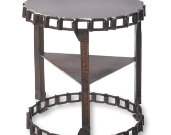Reclaimed Metal Industrial Drag Chain Side Table Metal End Table