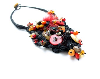 Bib Fiber Art Necklace Freeform Black Red Burgundy Orange Statement Textile Jewelry Boho Burlesque Coral Feather Raw Gemstone