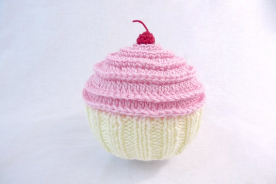 Clearance - Ready to Ship - Pink and Vanilla Baby Cakes Cupcake Hat with a Cherry on Top Size - 12-18 months
