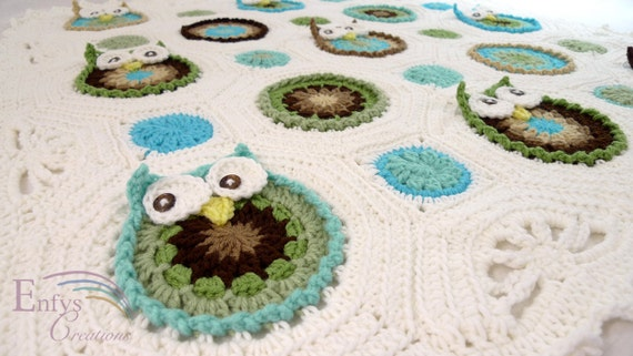 MADE TO ORDER - Owl Obsession Baby Afghan - You Choose Colors