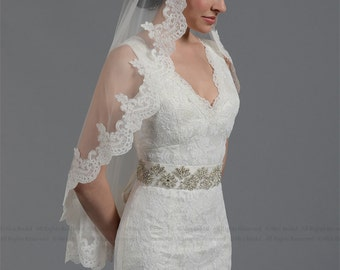 wedding bridal lace mantilla veil 50x50 fingertip length alencon lace - white and ivory