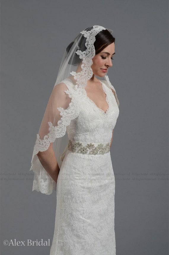 wedding bridal lace mantilla veil 50x50 fingertip length alencon lace - white and ivory