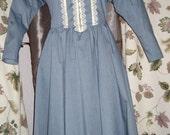 Gunne Sax Dusty Blue Dress with Ivory Lace Trim Dress - Reserved for Kekeado