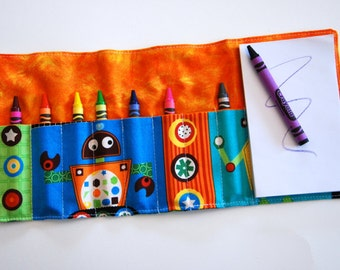 Crayon Roll Up - Crayon Holder - Kids Organizer with Pad & Crayons - ROBOTS ORANGE