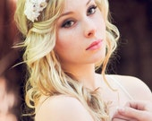 white flower fascinator, wedding accessory bridal hair band, cherry blossom flower headpiece