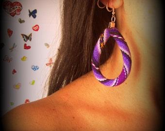 Wrapped Leather Tribal Woven Earrings, Bohemian Jewelry
