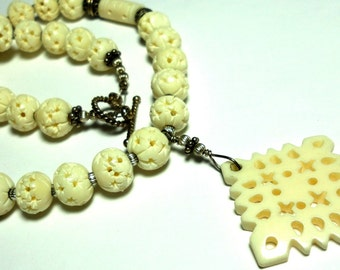 Carved Ox Bone Necklace Winter White Carved Non Endangered Ox Bone Necklace and Carved  Beads with Sterling