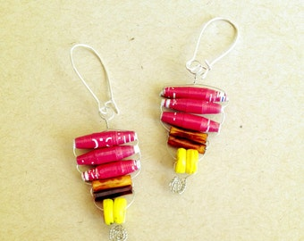 Red Tribal Paper Bead Earrings - Recycled, Upcycled and Eco - Friendly