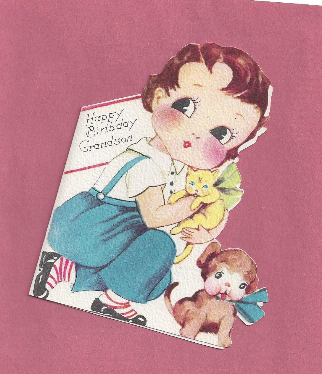 Vintage Happy Birthday Card Grandson Card 1940s Unused Boy