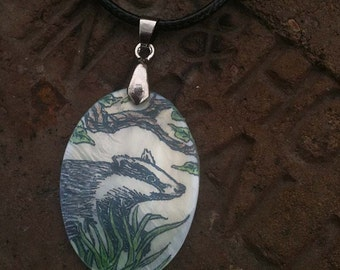 Badger Totem Animal Mother of Pearl Amulet by Mickie Mueller