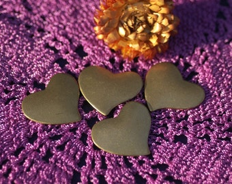 Brass Heart  Blank 30mm x 26mm Cutout Shape Charms for Metalworking Stamping Texturing Soldering 5 pieces