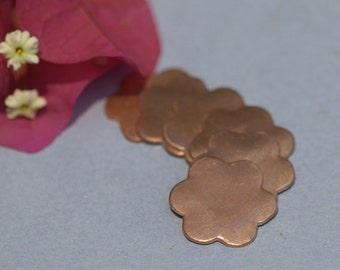 Copper Flower 20mm Blank Cutout for Enameling Stamping Texturing Blanks - 6 pieces