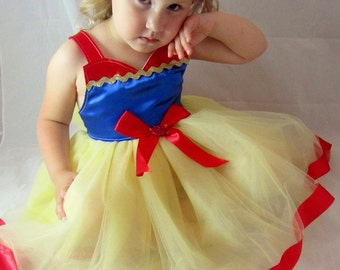 Snow White Tutu Dress: Blue Red Yellow sparkle, Adjustable easy on & off wrap around, birthday party, princess dinner, halloween costume