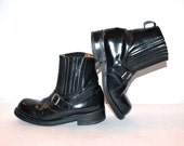 GAULTIER JUNIOR Biker Boots Black Leather Motorcycle Boots size 7.5 - 8 - AUTHENTIC -