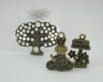 6 pcs Zinc Brass Cute Rabbit with Bicycle, Big Tree & My Garden Charms Pendants Decorations Findings. RC