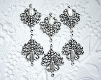 4 - Antique silver plated fleur filigree connector drop -  FH240
