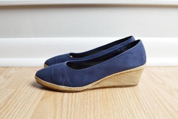 shoes espadrille wedge canvas navy blue jute rope trim