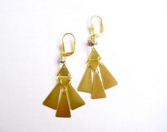 Geometric Statement Earrings, Pyrite Triangle Fan Earrings, Brass Pyrite Jewelry