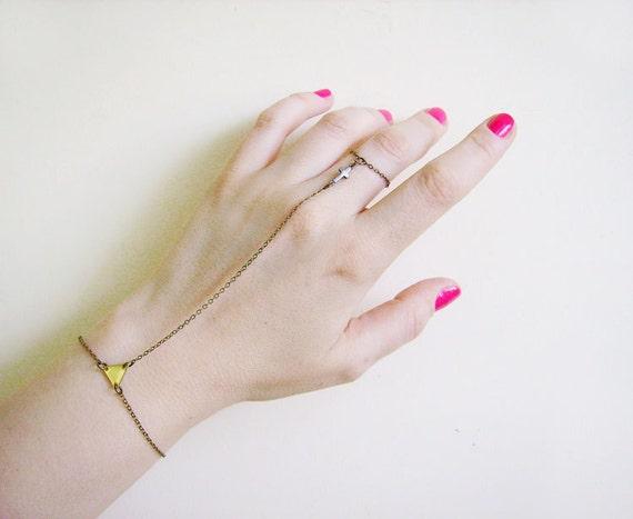 Cross Slave Bracelet, Hand Chain Bracelet, Finger Bracelet, Chain Geometric Bracelet