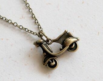 Motor bike Necklace in Vintage Brass color (N331)